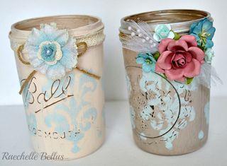 Stenciled mason jars