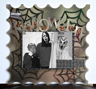 Clear Scraps Samantha Walker Halloween Spiderweb Layout Stencils Krylon Pinky Hobbs3