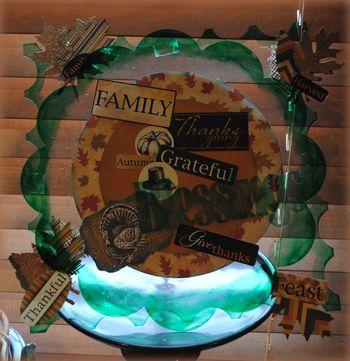 Thanksgiving centerpiece-hanging sculpture as centerpiece