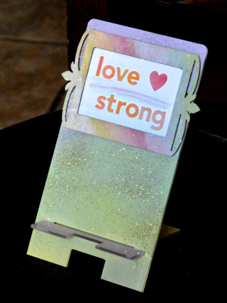 Clear Scraps Glitter Love Strong Cell Phone Stand by Pinky Hobbs2