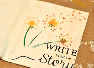 Notebook_clear scraps_stencil_gesso