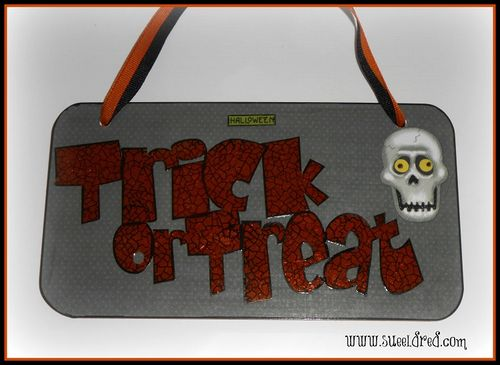 Clear Scraps Trick or Treat Halloween Sign