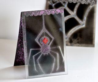 Halloween Spider Acrylic Cards Spray Paint Pinky Hobbs4