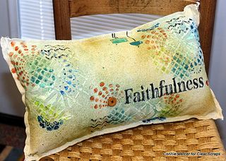 Clear Scraps stencils pillow Connie Mercer