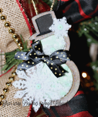 Clear Scrap Ornament snowman-angel