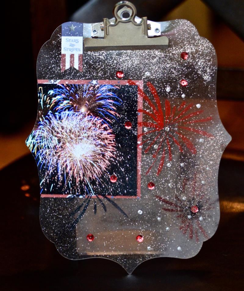 ClearScraps  Acrylic Clipboard Fireworks Pinky Hobbs - 1
