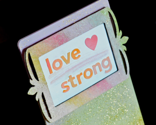 Clear Scraps Glitter Love Strong Cell Phone Stand by Pinky Hobbs3