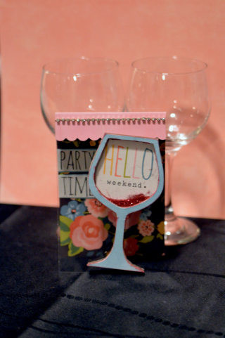 Clear Scraps Party Time Wine Glass Shaker Card by Pinky - 2