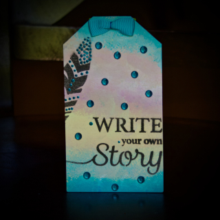 Clear Scraps Write Your Own Story Stenciled Tag Notepad Pinky Hobbs - 2
