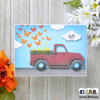 Butterfly Truck Card by Annie Williams for Clear Scraps - Flat