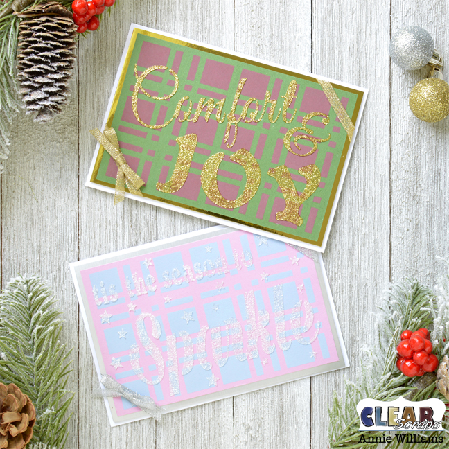 Easy Plaid Christmas Cards by Annie Williams for Clear Scraps - Main