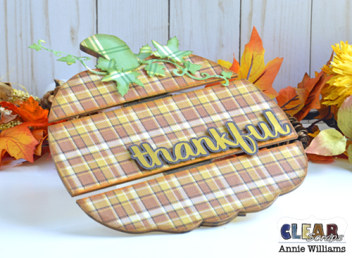 Thankful Pumpkin Pallet by Annie Williams for Clear Scraps - Detail