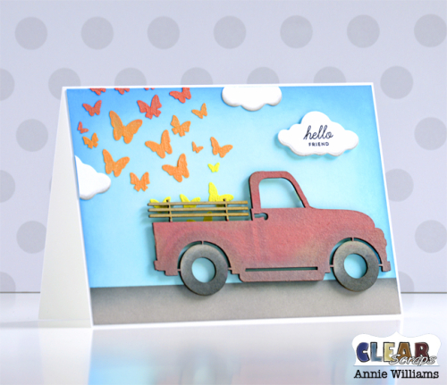 Butterfly Truck Card by Annie Williams for Clear Scraps - Main