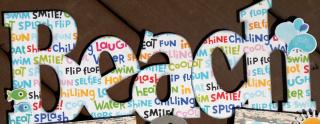 Clear_Scraps_XL Word Frame_Beach Fun word close up