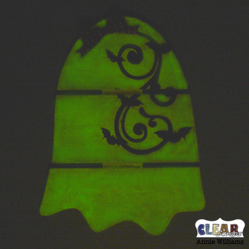 Glow in the Dark Ghost Pallet Decor by Annie Williams for Clear Scraps - Glowing