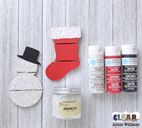 Quick and Easy Pallet Ornaments by Annie Williams for Clear Scraps - Supplies