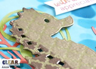 Stenciled Seahorse Card by Annie Williams for Clear Scraps - Stencil Detail