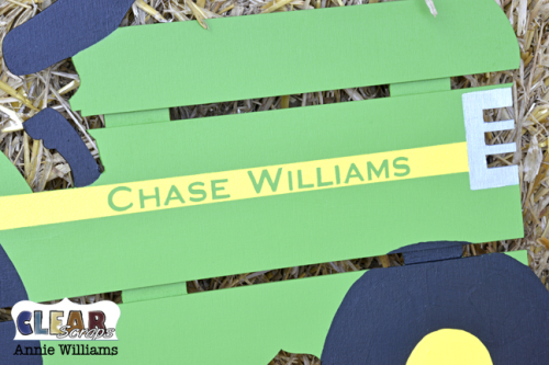 Personalized Tractor Pallet by Annie Williams for Clear Scraps - Detail