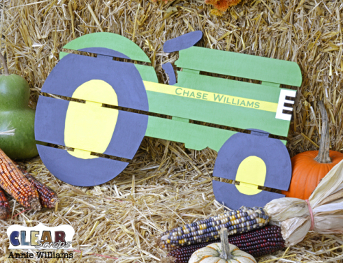 Personalized Tractor Pallet by Annie Williams for Clear Scraps - Final