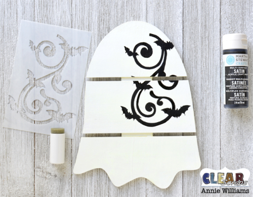 Glow in the Dark Ghost Pallet Decor by Annie Williams for Clear Scraps - Stencil Bats