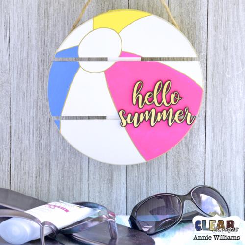 Hello Summer Beach Ball Sign by Annie Williams for Clear Scraps - Main
