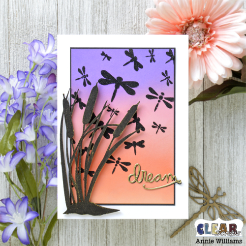 Cattails at Sunset Card by Annie Williams for Clear Scraps - Square