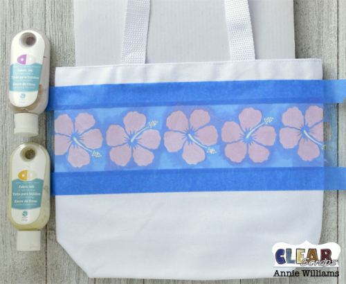 Color Changing Vacation Tote by Annie Williams for Clear Scraps - Stenciling