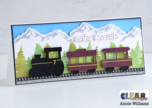 Alpine Train Card by Annie Williams for Clear Scraps - Standing