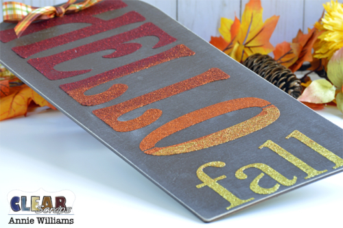 Hello Fall Sign by Annie Williams for Clear Scraps - Detail