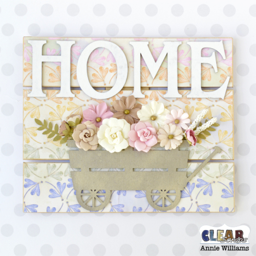 Home with Wagon of Flowers Pallet Sign by Annie Williams for Clear Scraps - Main
