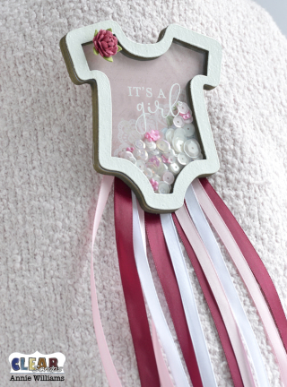 Baby Onesie Shaker Pin by Annie Williams for Clear Scraps - Main
