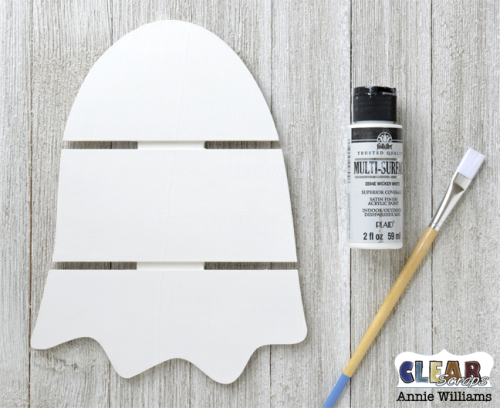 Glow in the Dark Ghost Pallet Decor by Annie Williams for Clear Scraps - Basecoat