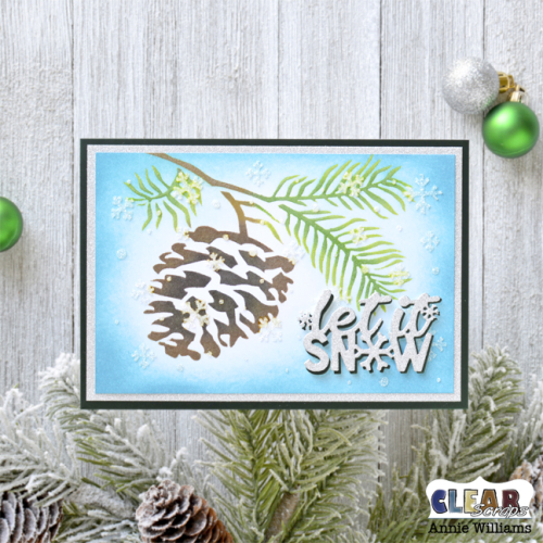 Snowy Pine Cone Card by Annie Williams for Clear Scraps - Main