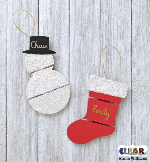 Quick and Easy Pallet Ornaments by Annie Williams for Clear Scraps - Add Names and Hangers