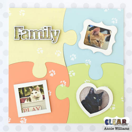 Cat Family Puzzle Decor by Annie Williams for Clear Scraps - Main