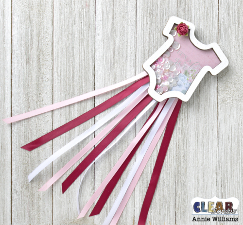 Baby Onesie Shaker Pin by Annie Williams for Clear Scraps - Front
