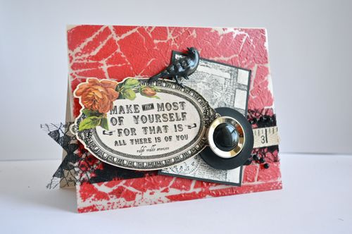 Acrylic Vintage Button Card by Pinky