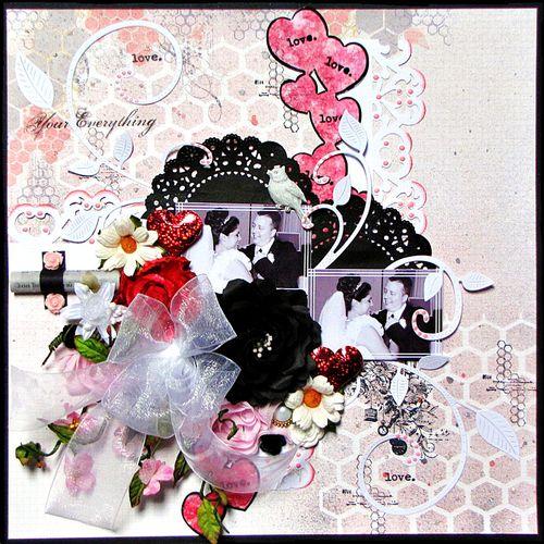 Love Layout by Kay Fatula using Borders and Mascils